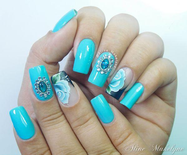 Armario Aereo Com Espelho Para Banheiro ~ Adesivo artesanal Flor One stroke verde e Jóia para as unhas Loja Aline Makelyne